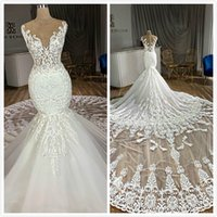 Sheer Neck Mermaid Arabic Wedding Dresses Lace Beaded Court ...