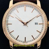 GB أفضل نسخة TRADITIONNELLE 85520 / 000R-9850 الأبيض الهاتفي اليابان ميوتا 9015 التلقائية الرجال ووتش الماس الساعات الفاخرة حقيبة جلد الشريط
