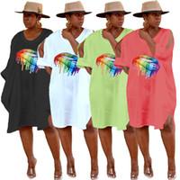 Donne abiti firmati dividere gonne midi abbigliamento estivo bocca di stampa abiti t-shirt manica corta abiti sciolti caldo di vendita di più di formato 893