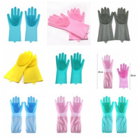 Dishwashing Gloves silicone Gloves Cleaning Brush Scrubber S...