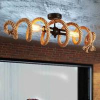 Amerikanische LOFT Vintage-Hanf-Seil hängende Lichter E27 Edison Wasserrohr LED Deckenhängelampe Restaurant Coffee Bar Wohnkultur MYY