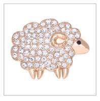 Vintage Broche Strass Mujer Belle Cristal Mouton Broche Strass Animal Pin Revers