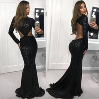 Open Back Long Sleeve Mermaid Prom Dresses 2019 New Sparkly ...