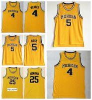 Michigan Wolverines College Jalen Rose Jersey 5 Uomini Basket Blackcall Chris Webber 4 Juwan Howard Jersey 25 Team Color Yellow University Vendita calda