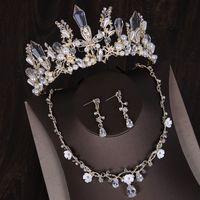 Luxus 2019 Hochzeit Brautschmuck Sets Pageant Crown und Tiara Strass Tropfen Überzogene Halskette und Ohrringe Anhänger Freies Verschiffen