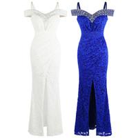 Angel-Fashions Beading Encaje Party Vestido de baile Barco Cuello Plisado Transporte Largo Vestido de noche formal 439