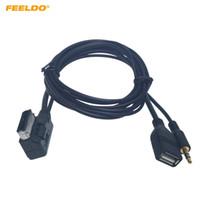 Feeldo سيارة الصوت الموسيقى 3.5mm aux كابل AMI / MDI / MMI واجهة USB + شاحن لأودي فولكس واجن سلك محول # 6209