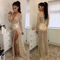 Kulüp Elbise Akşam Maxi F0447 Uzun Kollu Derin V Neck sayesinde Seksi Parti Elbise Kadınlar Pist Sequins Püsküller bakın