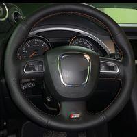 Auto-Lenkradbezug aus schwarzem Naturleder für Audi A3 (8P) 2008-2013 A4 (B8) 2008-2010 A5 2008-2010 A6 (C6) 2007-2011