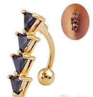 Mini Paslanmaz Çelik Halter Zirkon Belly Button Göbek Yüzükler Traingle Altın Basit Vücut Piercing Takı (siyah / beyaz)