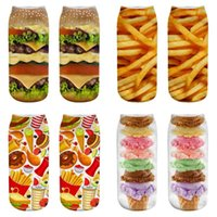 1 par Hamburguesa y patatas fritas señoras de los calcetines de mujeres y hombres loco divertido de dibujos animados 3D asombrosa linda de la novedad Imprimir calcetines