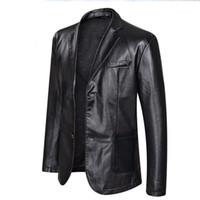 Jacke 5XL 6XL Plus Size Mens Big PU-Leder-Jacken beiläufige Einreiher Bekleidung Mäntel Designer