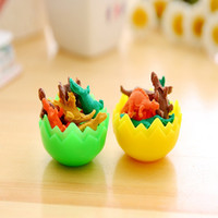 Cartoon Mini Dinosaur Eraser Creative Dinosaur Egg Child Student Stationery Eraser para niños útiles escolares regalo 7 unids / lote