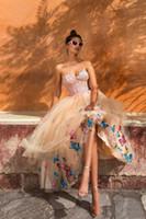 Abiti Sweetheart una linea vestiti da sposa in pizzo Appliques della farfalla Tatuaggi formale abito da sera di lunghezza del tè Backless del partito a buon mercato