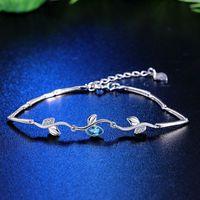 Серебряный браслет Дерево Форма Форма Браслеты Связыванные цепные браслеты Синий Циркон 925 Стерлинговые SilverDesign Мода Женщины
