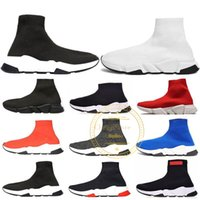 2019 Designer Speed ​​Trainer Luxus Casual Schuhe Schwarz Weiß Rot Blau Glitter Flache Mode Socken Stiefel Sneakers Mode Trainer Runner 36-45
