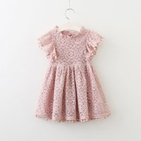 Ins Girl' s Lace dresses Girls clothing Flutter sleeve P...