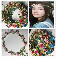 Hot Sale Flowers Leaves Rattan Colorful Wedding Garlands Bridesmaid Bridal Headband Flower Headband Girls' Wedding Hair Accessories