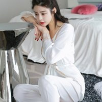 Pijama Set Silk Pyjamas Women' s Sexy Lace Long Pants Su...
