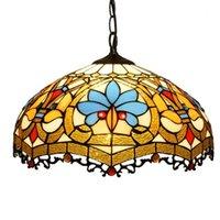 Тиффани подвеска лампа 16 дюймов Прицепные цепи Синий Оранжевый Dragonfly Витраж Кристалл бисера абажур Anqitue Стиль висячие свет