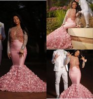 Splendida 2k17 rosa abiti da sera a maniche lunghe sexy vedere attraverso maniche lunghe aprire indietro abiti da sera sirena vestito da partito formale africana