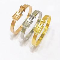 Brazalete de cinturón brazalete de titanio ajustable de acero de lujo de lujo joyería de oro plata rosa oro pulseras abiertas brazalete para hombres mujeres DHL