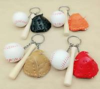 مصغرة ثلاث قطع البيسبول قفاز خشبي الخفافيش المفاتيح الرياضية سيارة مفتاح سلسلة مفتاح حلقة هدية لرجل إمرأة بالجملة السفينة مجانية
