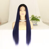 "Fshion Blue Color 26"" Long Silky Straight Wigs For Wome..."