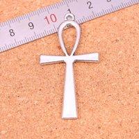 33pcs Charms croix symbole egyptien vie ankh Antique Argent Plaqué Pendentifs Faire la main bricolage tibétain Bijoux en argent 52 * 28mm