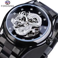 Forsining Silver Dragon Skeleton Automatique Mécanique Montres Cristal Bracelet en acier inoxydable montre-bracelet de l'horloge homme imperméable