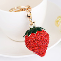 Red Strawberry Lovely Glass Pendant Car Purse Bag Key Chain ...