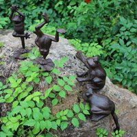 Set di 4 rane in ghisa casa giardino prato statua in metallo artigianato marrone animale bella decorazione Cottage fattoria giardinaggio figurine ornamento