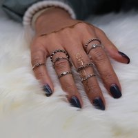 Vintage old multi- element ring eight group Bohemian 8 piece ...