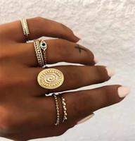 6PCS / مجموعة البوهيمي الذهب لون العيون مجموعة خواتم زهرة للنساء هندسي سبيكة المفصل ميدي خواتم مجوهرات بوهو T474