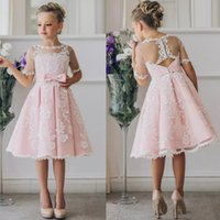 Fancy Blush Pink Flower Girl Dress con appliques mezze maniche al ginocchio lunghezza Girls Pageant Gown con fiocchi al fiocco per il Natale