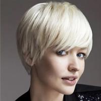 Nokta peruk kadın saf beyaz kısa düz saç erkek ve kadınlar genel COS Avrupa ve Amerika Birleşik Devletleri dış ticaret fabrika doğrudan moda h