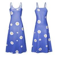 Cinghia di spaghetti di modo maxi vestito casuale per le donne Daisy Stampato in estate una linea di ankle-lunghezza Sexy Beach abiti multicolore Plus Size 5XL