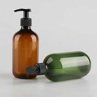 Atacado 300ml 500ml rodada ombro loção gel de shampoo sabonete garrafa garrafa vazia castanho verde PET engarrafamento personalizados LOGO