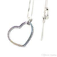 متوافق مع مجوهرات باندورا 925 فضة القلب متعدد الألوان قلادة للنساء مجوهرات سحر المعلقات الأزياء الأصل