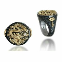 5шт Европа и Соединенные Горячие продажи мужчин два тона кольца Властной Китайский дракон Яркий черный Мужчины Личность Кольца G-60