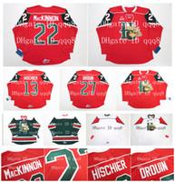 LHJMQ Halifax Mooseheads Jerseys 22 NATHAN MacKINNON 13 NICO HISCHIER 27 JONATHAN DROUIN Rouge Blanc Vert100% couture de maillots de hockey sur mesure