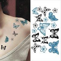 2018 Nouveau Temporaire Autocollant De Tatouage Stickers Imperméables Faux Tatoo Art Taty Des Femmes Papillon Fleur Motif De Tatouage Autocollant T190711
