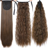 Saç Uzantısı Kadınlar Sahte Bun Clip için 22inches Uzun Afro Kıvırcık İpli at kuyruğu Sentetik peruk Pony Tail Saç Parçası