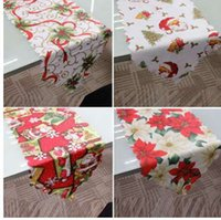 1PC 36x180cm Christmas Table Runner Mat Tablecloth Christmas Flag Home Party Decorative Santa