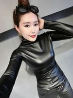 cálido cuello alto invierno de 2019 nuevas mujeres de manga larga túnica del bodycon de la PU de cuero, además de terciopelo en el interior de las tapas de la camisa más el tamaño S M L XL XXL 3XL 4XL