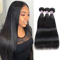 ishow straight 3 pcs 미처리 된 브라질 버진 인간의 머리카락 번들 페루 확장 여성용 소녀 자연 블랙 컬러 8-28inch