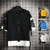 Сыпучие с коротким рукавом Hip Hop Стиль New тройники Мужской конструктор Tshirt Mens Color Matching Hole Tshirt лето