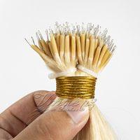 Remy Jungfrau Natürliche blonde weiche Keratin Fusion 50g Doppelgezeichnete Gerade Kunststoff Tipp Nano Ring Link Königin Rohe Haarverlängerungen