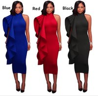 Ruffles Cold Shoulder Sexy Midi Dress Women Autumn Slim Halt...