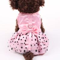 Küçük Köpek Kedi Elbise Gömlek Bowstars Tasarım Pet Köpek Etek İlkbahar Yaz Giyim 4 Renkler